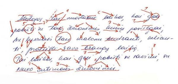 Grafologo pažymėtos rašto vietos identifikuojančios tam tikras asmens sąvybes
