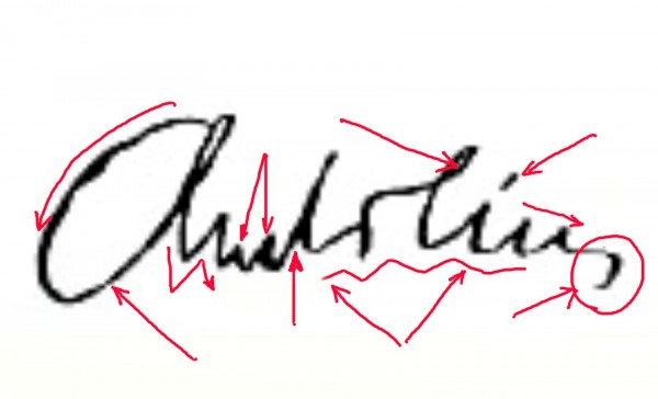 A.Kubiliaus parašas su grafologo pažymėtais požymiais